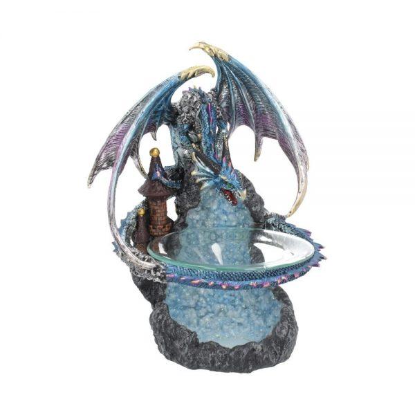 Nemesis Now Flame Saviour 24cm Dragon Oil Burner, Blue, One Size