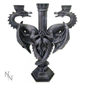 Dragon's Altar Candelabra Black Gothic Triple Candle Holder 29cm