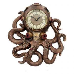 Steampunk Clock-Octo Clock Octopus Squid Wall Clock