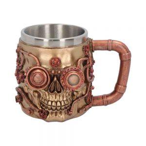 Steampunk Steaming Tankard Skull Metallic Mug