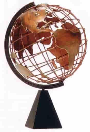 Copper World Globe Sculpture